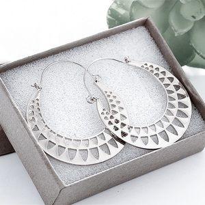 Jewelry - Silver Ear Wire Hoops w/Triangle Cut Outs
